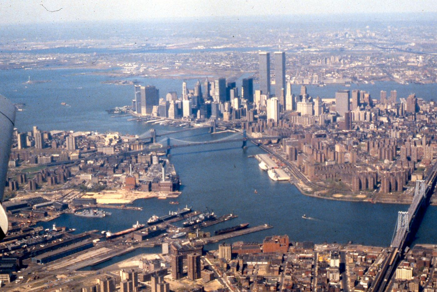 Aerial view of East River Lower Manhattan New York Harbor 1981 this blog needs movies